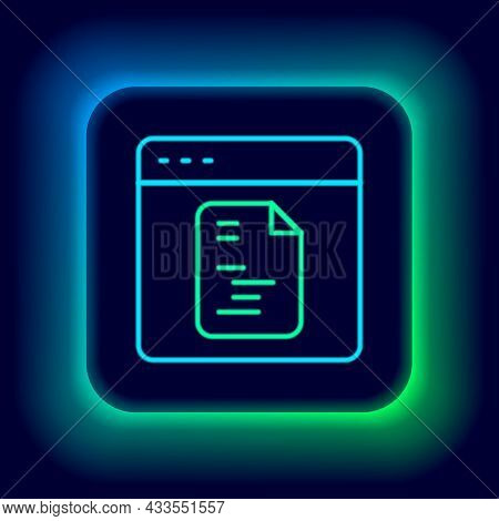 Glowing Neon Line Software, Web Developer Programming Code Icon Isolated On Black Background. Javasc