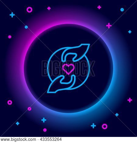 Glowing Neon Line Pleasant Relationship Icon Isolated On Black Background. Romantic Relationship Or