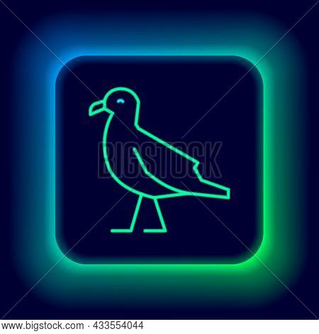 Glowing Neon Line Bird Seagull Icon Isolated On Black Background. Colorful Outline Concept. Vector