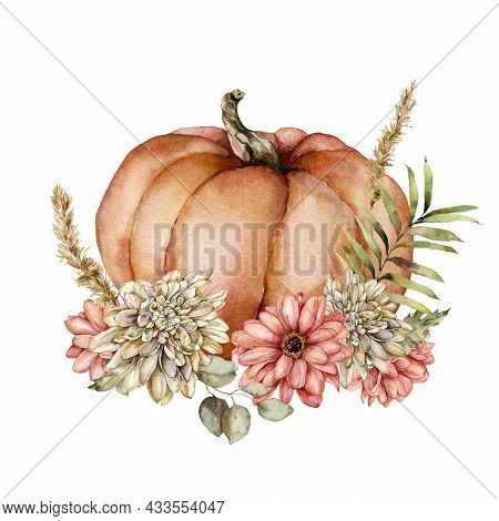 Watercolor Autumn Composition Of Pumpkin, Flowers And Leaves. Hand Painted Gourd, Asters And Dahlias