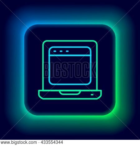Glowing Neon Line Laptop With Browser Window Icon Isolated On Black Background. Computer Notebook Wi