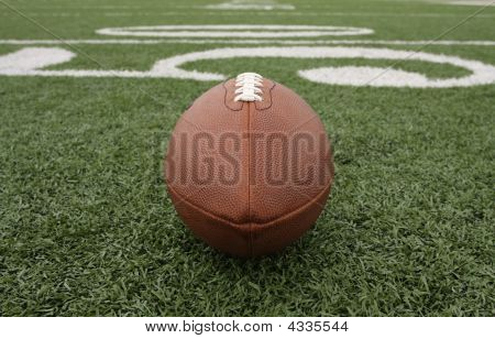 American Football Near The 50 Yard Line