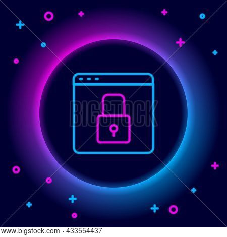 Glowing Neon Line Secure Your Site With Https, Ssl Icon Isolated On Black Background. Internet Commu