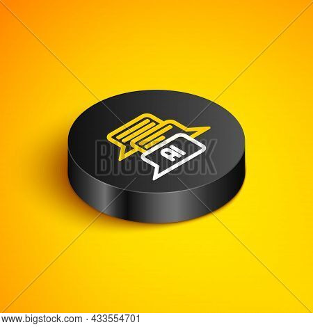 Isometric Line Chat Bot Icon Isolated On Yellow Background. Chatbot Icon. Black Circle Button. Vecto