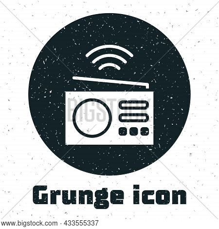 Grunge Smart Radio System Icon Isolated On White Background. Internet Of Things Concept With Wireles