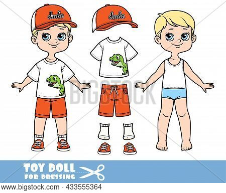 Cartoon Boy With Blond Hair Dressed And Clothes Separately -  Cap With Visor, T-shirt With Print Tyr