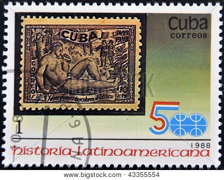 stamp printed in Cuba shows Latin American History