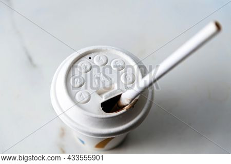 Paris, France - Aug 12, 2021: View From Above Of White Plastic Cup With Mcdonalds Logotype On It And