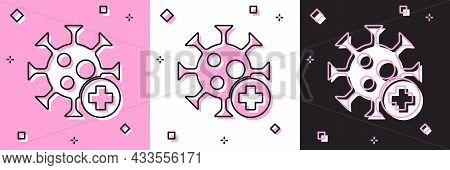 Set Positive Virus Icon Isolated On Pink And White, Black Background. Corona Virus 2019-ncov. Bacter