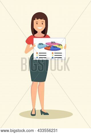 The Woman Represents The Project. Vector Illustration.