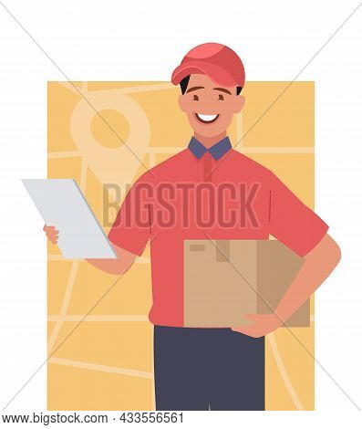 A Courier With A Box. A Young Courier In A Red Hat And Uniform. Vector Illustration.