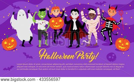 Group Of Cute Kids Dressed Up In Festive Halloween Costumes And Dancing On Halloween Party Poster. D