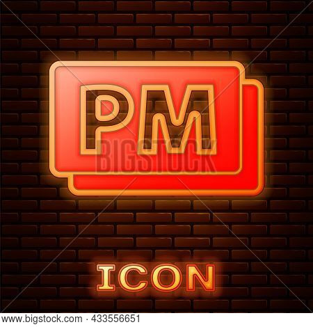 Glowing Neon Clock Pm Icon Isolated On Brick Wall Background. Time Symbol. Vector