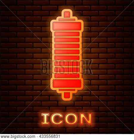 Glowing Neon Shock Absorber Icon Isolated On Brick Wall Background. Vector