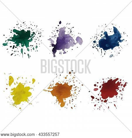Set Of Splashes. Colorful Watercolor Vector. Watercolor Drops. Abstract Watercolor Splatter Stain Te