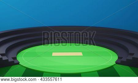 3D Cricket Stadium Or Playground  Background.