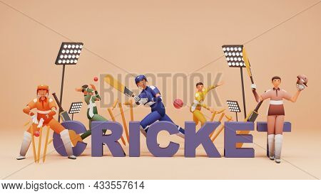 3D Cricket Text With Cricketer Players In Playing Poses And Stadium Lights On Beige Background.