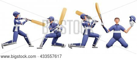 3D Illustration Of Batsman Player Collection In Different Poses.