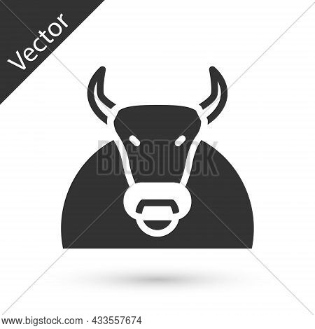 Grey Bull Icon Isolated On White Background. Spanish Fighting Bull. Vector