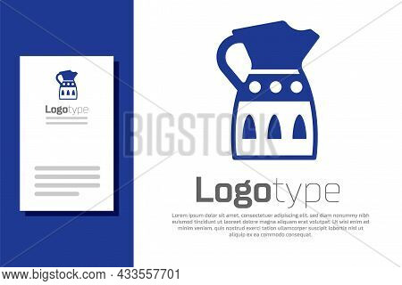 Blue Sangria Pitcher Icon Isolated On White Background. Traditional Spanish Drink. Logo Design Templ