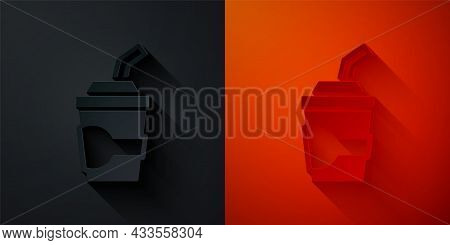Paper Cut Paper Glass With Drinking Straw And Water Icon Isolated On Black And Red Background. Soda