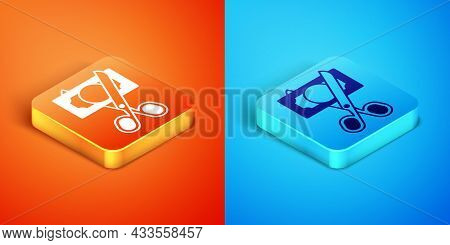 Isometric Scissors Cutting Money Icon Isolated On Orange And Blue Background. Price, Cost Reduction