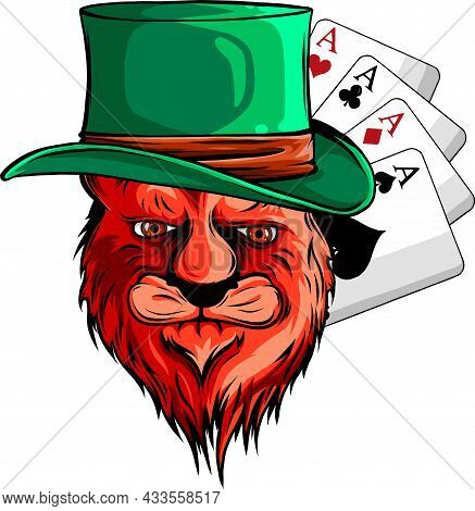 Vector Illustration Of Player With Ace Poker Card.