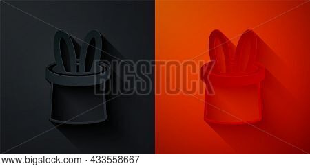 Paper Cut Magician Hat And Rabbit Ears Icon Isolated On Black And Red Background. Magic Trick. Myste