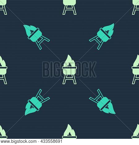 Green And Beige Barbecue Grill Icon Isolated Seamless Pattern On Blue Background. Bbq Grill Party. V