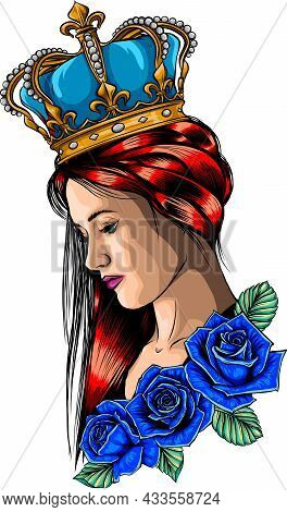 Queen And Roses. Symbol Of A Retro, Queen, Princess, Lady.
