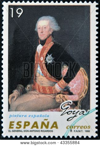 stamp printed in Spain shows General Don Antonio Ricardos by Francisco de Goya