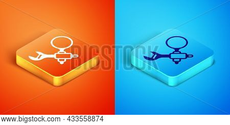 Isometric Debugging Icon Isolated On Orange And Blue Background. Debugging Tool. Magnifying Glass On