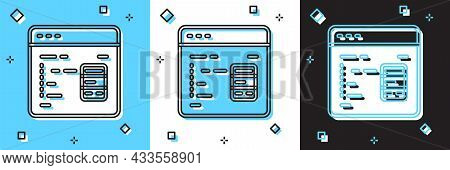 Set Software, Web Developer Programming Code Icon Isolated On Blue And White, Black Background. Java