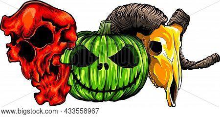 Halloween Pumpkin Half Skull, Looks Spooky And Cool.