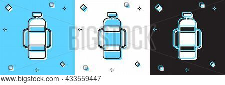 Set Aqualung Icon Isolated On Blue And White, Black Background. Oxygen Tank For Diver. Diving Equipm