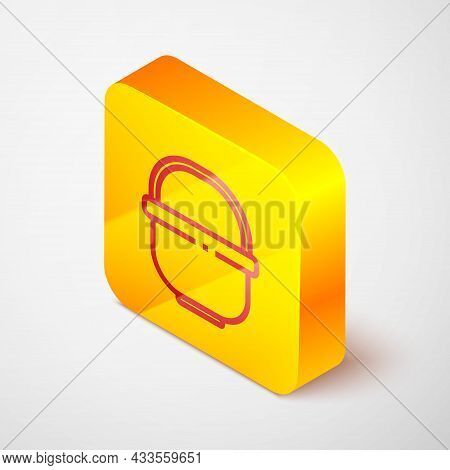 Isometric Line Camping Pot Icon Isolated On Grey Background. Boil Or Stew Food Symbol. Yellow Square