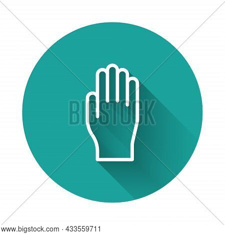 White Line Medical Rubber Gloves Icon Isolated With Long Shadow. Protective Rubber Gloves. Green Cir