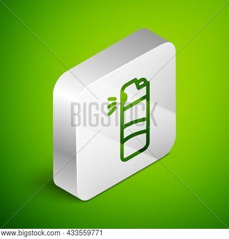 Isometric Line Pepper Spray Icon Isolated On Green Background. Oc Gas. Capsicum Self Defense Aerosol