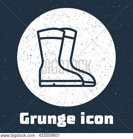 Grunge Line Fishing Boots Icon Isolated On Grey Background. Waterproof Rubber Boot. Gumboots For Rai
