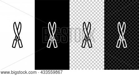 Set Line Gardening Handmade Scissors For Trimming Icon Isolated On Black And White Background. Pruni