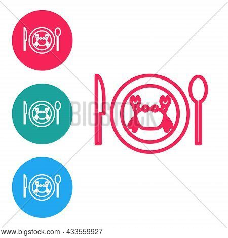 Red Line Served Crab On A Plate Icon Isolated On White Background. Set Icons In Circle Buttons. Vect
