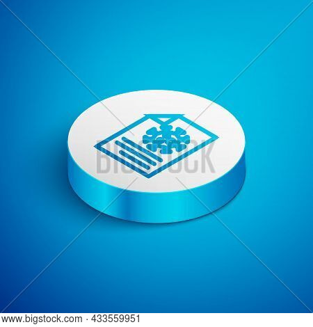 Isometric Line Medical Clipboard With Blood Test Results Icon Isolated On Blue Background. Clinical