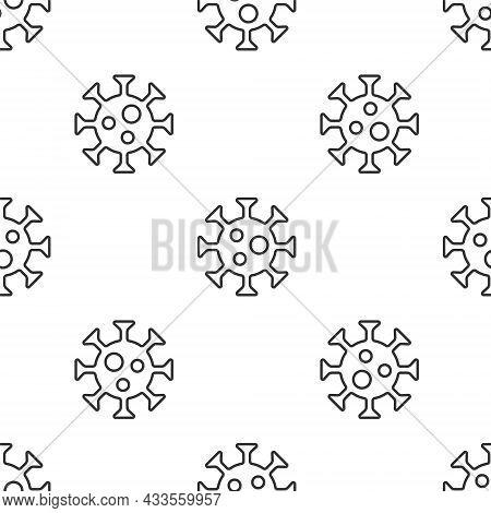Grey Line Virus Icon Isolated Seamless Pattern On White Background. Corona Virus 2019-ncov. Bacteria
