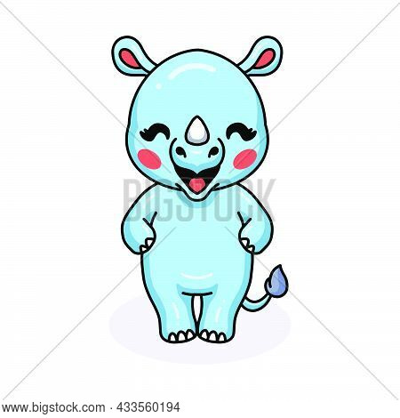 Vector Illustration Of Cute Baby Rhino Cartoon Standing