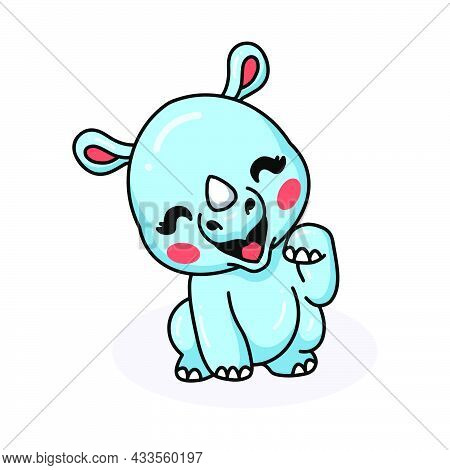Vector Illustration Of Cute Baby Rhino Cartoon Posing