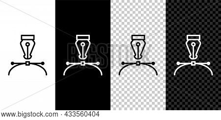 Set Line Fountain Pen Nib Icon Isolated On Black And White Background. Pen Tool Sign. Vector