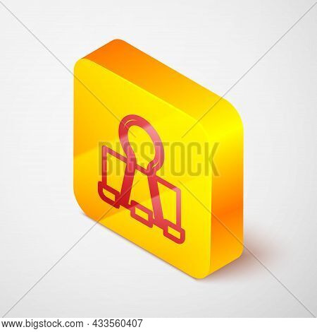 Isometric Line Binder Clip Icon Isolated On Grey Background. Paper Clip. Yellow Square Button. Vecto