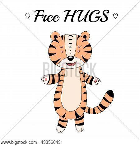 Cute Tiger Cartoon, Cute Card, Free Hugs