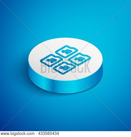 Isometric Line Music File Document Icon Isolated On Blue Background. Waveform Audio File Format For