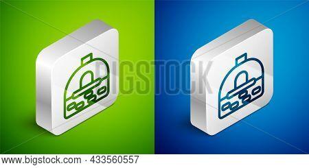 Isometric Line Brick Stove Icon Isolated On Green And Blue Background. Brick Fireplace, Masonry Stov